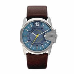 迪赛(DIESEL)Master Chief不锈钢棕色皮质表带三针手表 45毫米