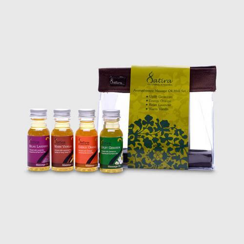 Satira Mini Set Aromatherapy Massage Oil 30 ml - Uplifting, Energizing, Relaxing, Calming (Warm Vanilla)