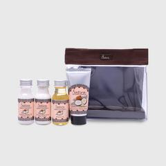 Satira Samui Coconut Mini Set  : Body Wash 30 ml, Body Lotion 30 ml, Massage Oil 30 ml, Hand Cream 35 gm.