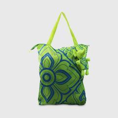 ANITA Eleph Foldable Bag -ML Kanok Lime/Blue Screen