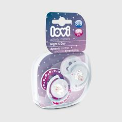 Lovi Dynamic soother silicone 3-6 months (2 pcs) NIGHT & DAY