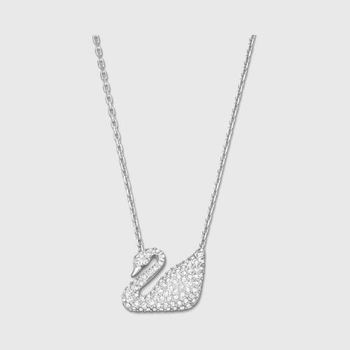SWAROVSKI Swan Pendant (銀色) Rhodium-Plated Crystal