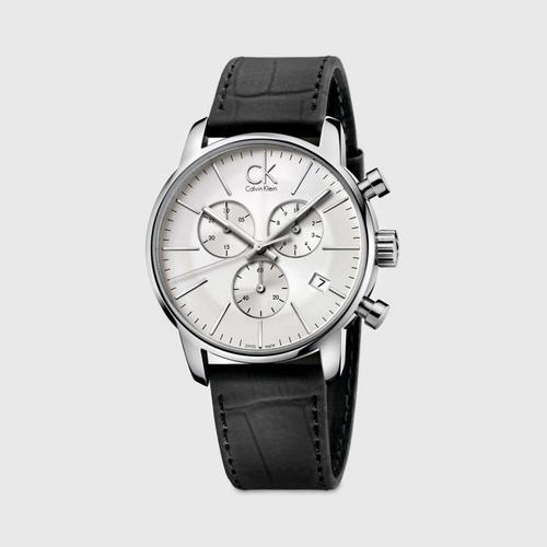 卡文·克莱 CALVIN KLEIN City Chrono黑色皮革男士腕表 40mm