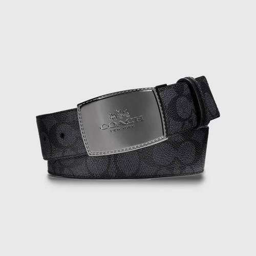 蔻驰 COACH 饰片锁缝可裁剪双面经典标志皮带碳灰色/黑色经典标志涂层帆布可裁剪双面3.5cm (宽)