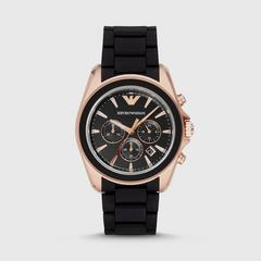 安普里奥·阿玛尼(EMPORIO ARMANI) Sigma 玫瑰金44mm黑色橡胶皮带腕表