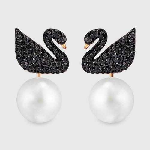 SWAROVSKI 施华洛世奇 Iconic Swan 黑天鹅珍珠穿孔水晶耳钉
