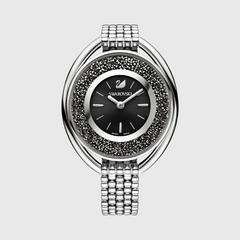 SWAROVSKI Crystalline Oval Watch, Metal bracelet, Silver tone黑色