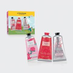 欧舒丹粉红色的花朵手奶油集