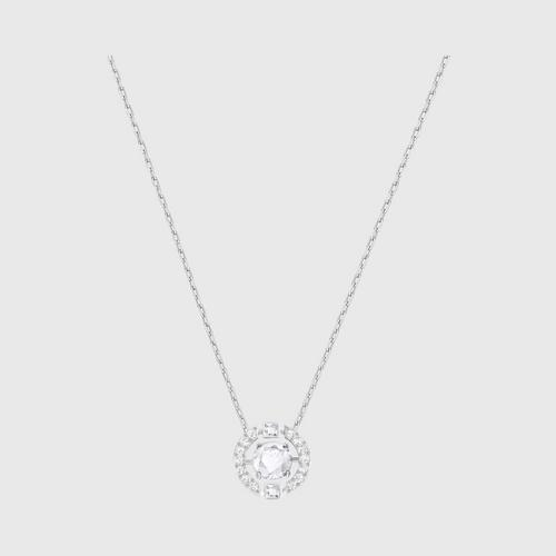 SWAROVSKI Sparkling Dance Round Necklace白色,Rhodium plating