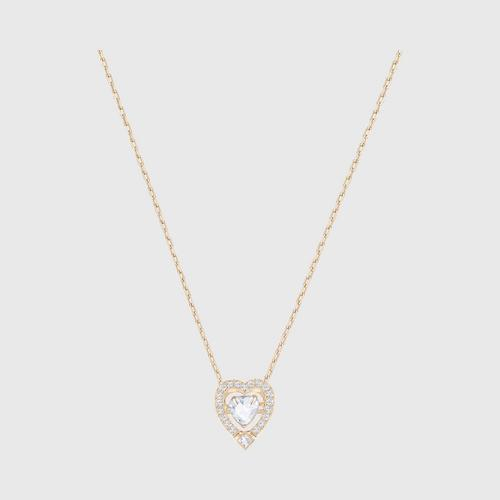 SWAROVSKI Sparkling Dance Heart Necklace (白色)Rose gold plating