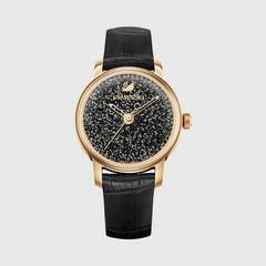 SWAROVSKI Crystalline Hours Watch, Leather strap, สีดำ, Rose gold tone(黑色)