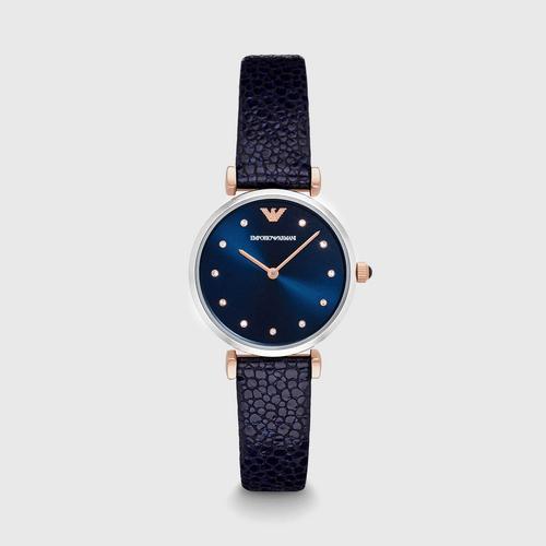 安普里奥·阿玛尼(EMPORIO ARMANI) Gianni T-Bar 双色 银色/玫瑰色 32mm蓝色皮质腕表