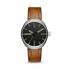 迪赛(DIESEL)Klutch不锈钢棕色皮质表带三针手表 40毫米