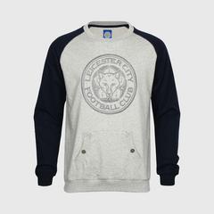 莱切斯特城足球俱乐部 LCFC Logo 男子连帽衫 灰色/深蓝色 尺寸 S