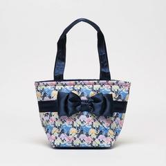 AIYA 爱亚蓝色蝴蝶结手提包 大象印花图案