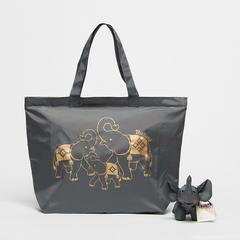 泰国王权免税店 Moment 折叠式托特包(带小象口袋)—灰色