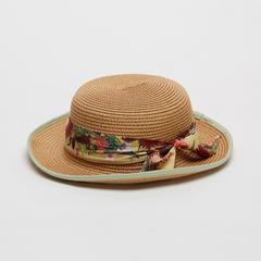 Voyage of Style Straw Fedora Hat Green Trim