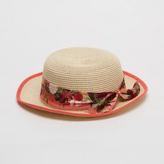 Voyage of Style Straw Fedora Hat Orange Trim