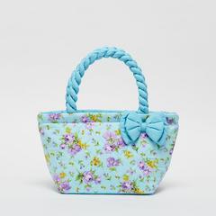 AIYA手袋,花朵图案搭配蓝色蝴蝶结