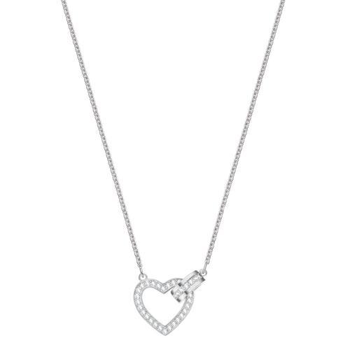 SWAROVSKI Lovely Necklace, White, Rhodium plating