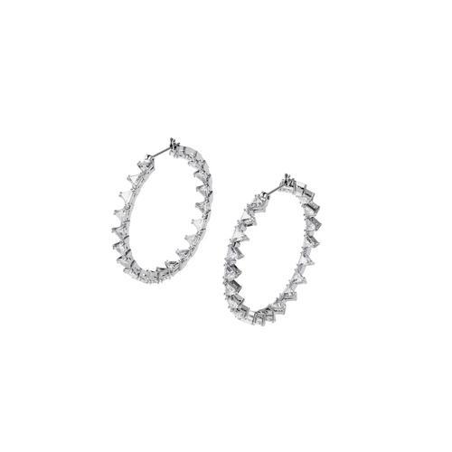 SWAROVSKI Millenia hoop earrings Triangle Swarovski Zirconia, Large, White, Rhodium plated