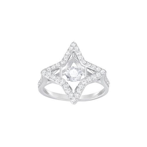 SWAROVSKI Sparkling Dance Star Ring, White, Rhodium plating-Size 55