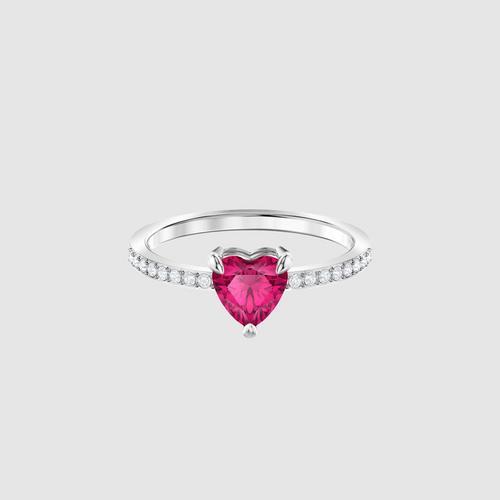 SWAROVSKI One Heart Ring, Red, Rhodium plated - Size 50