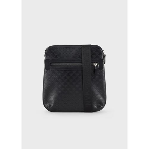 EMPORIO ARMANI Flat, leather shoulder bag with embossed monogram