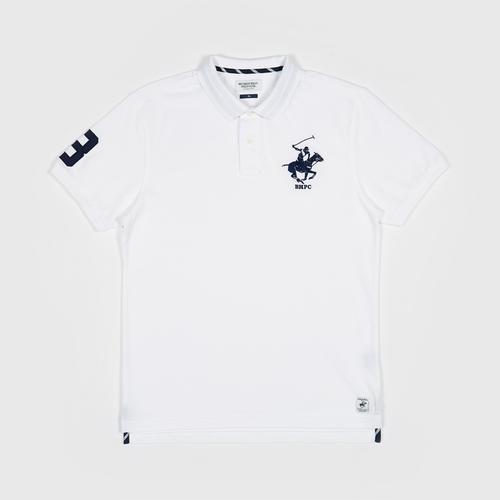 BEVERLY HILLS POLO CLUB S/S POLO SHIRT   WHITE -XL