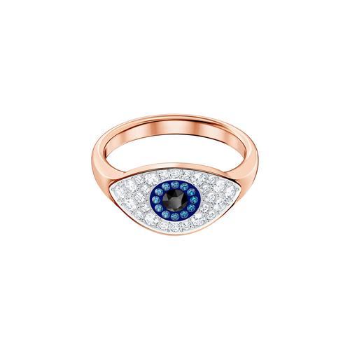 SWAROVSKI Symbolic Evil Eye Ring, Blue, Rose-gold tone plated-Size 52