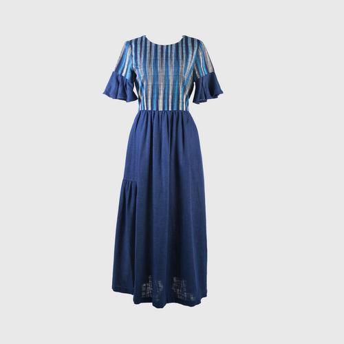 HATTRA Ruffle Sleeve Dress - Navy Blue - S