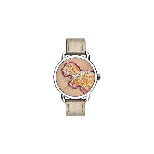 COACH 36mm Delancey Champagne Leather Strap Watch