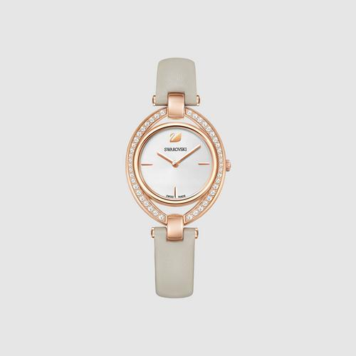 SWAROVSKI Stella Watch, Leather strap, Gray, Rose gold tone