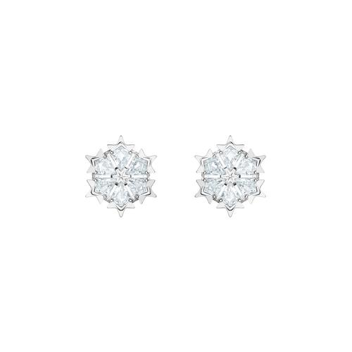 SWAROVSKI Magic Pierced Earrings, White, Rhodium plated