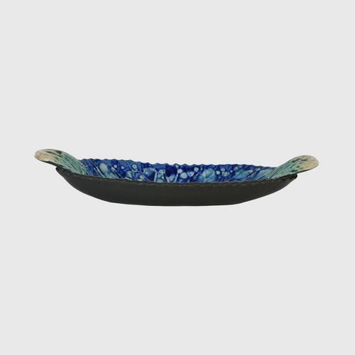 CHULABHORN  LOTUS Oval Shape Plate Navy Blue A1026-33M