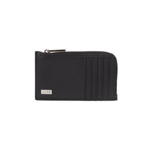 HUGO BOSS Zip-around wallet in grained Italian leather (Black)