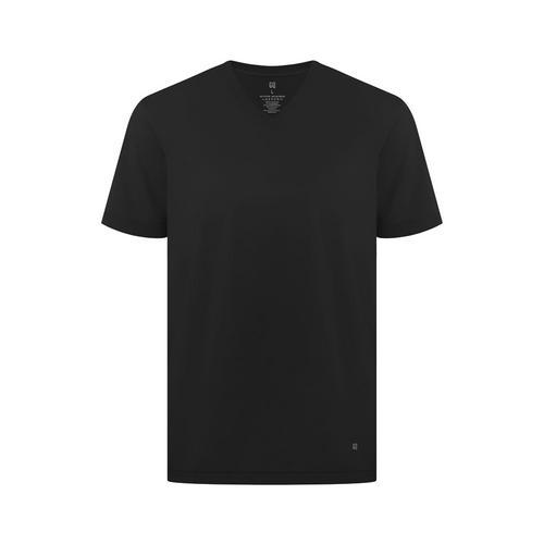 GQ Liquid-Repellent V Neck T-shirt Black S