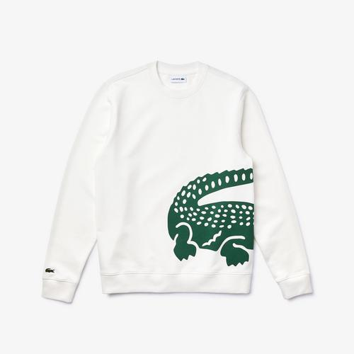 LACOATE Men's Oversized Crocodile Crew Neck Sweatshirt - 5
