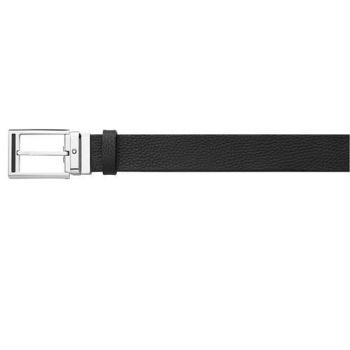 MONTBLANC Rectangular Shiny Palladium finish Pin Buckle with Black Insert Belt