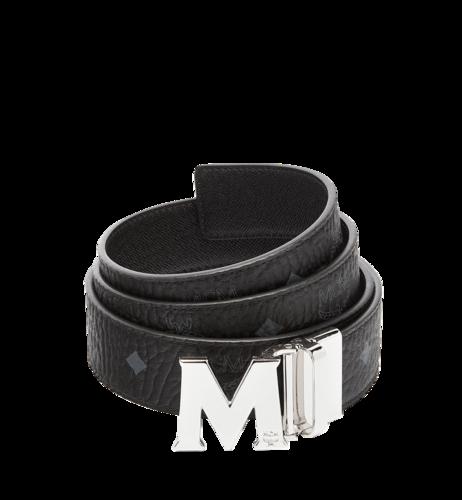 "MCM Claus Visetos""M""字双面皮带 - 黑色 + 银色搭扣"