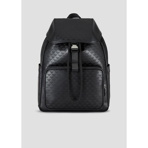EMPORIO ARMANI Leather backpack with monogram motif