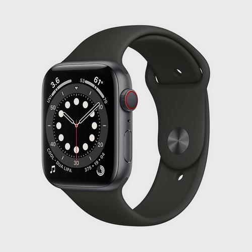 Apple Watch Series 6 (GPS + Cellular) Space Gray Aluminum Case  with Black Sport Band(44mm)