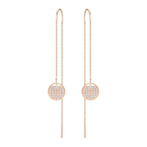 SWAROVSKI Ginger Chain Pierced Earrings, White, Rose Gold Plating
