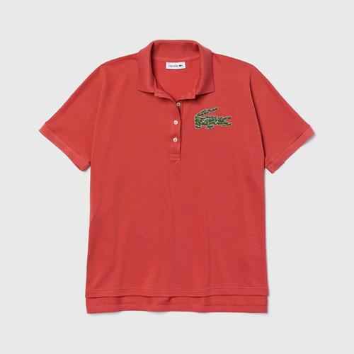 LACOSTE Women's Relaxed Fit Croco Magic Logo Piqué Polo (Pink) - Size L