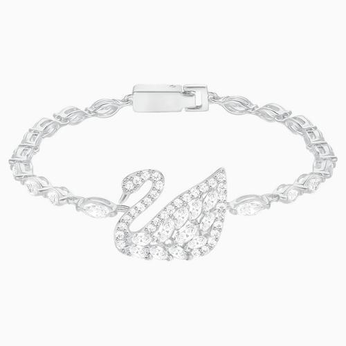 SWAROVSKI Swan Lake Bracelet, White, Rhodium Plating