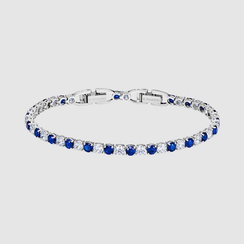 SWAROVSKI Tennis Deluxe Bracelet, Blue, Rhodium plated - Size M