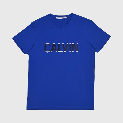 CALVIN KLEIN Logo Short Sleeve T-Shirt Blue Size S