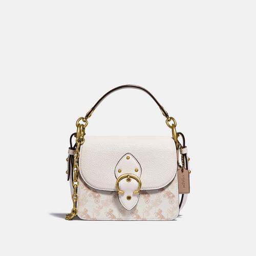 蔻驰COACH Beat Shoulder Bag 18 With Horse And Carriage Print - Brass/Chalk Taupe