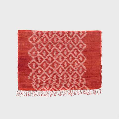 PRAEPRAO Buriram Silk Shawl - Mudmee 65 X 180 cm. Color ORANGE