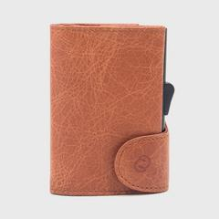 C-SECURE RFID Vintage Leather Coin-Wallet Cognac/ Black Card holder